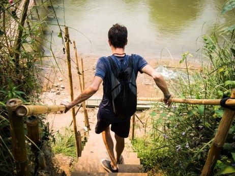 Stephen descending to the bamboo bridge.