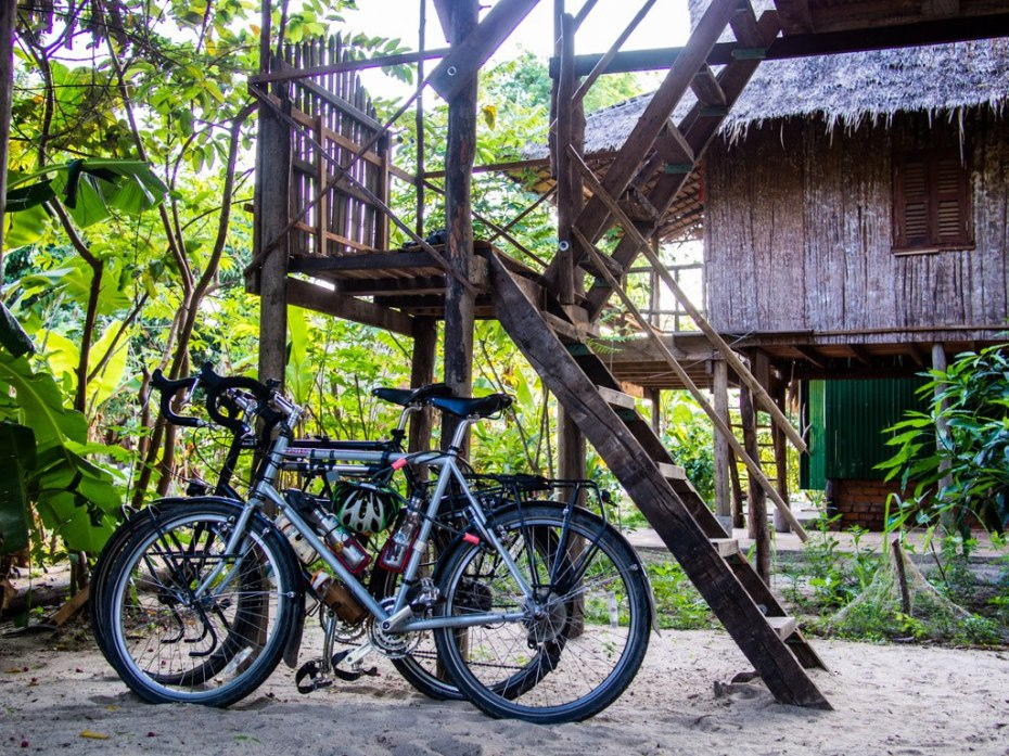 Bikes under our cabin at Samon Village, Kampot.