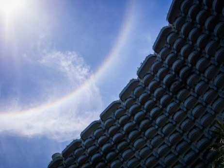Not sure how they arranged for a sunbow over the Shangri-La, but it's impressive.