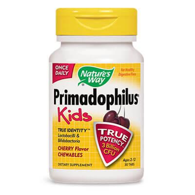 Примадофилус Кидс Череша 3 млрд. Активни пробиотици х 30 дъвчащи таблетки.