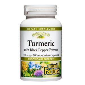 Natural Factors, Куркума 300 мг + Черен пипер х 60 V капсули
