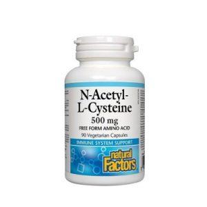 Natural Factors, Н-Ацетил Л-Цистеин, 500 мг х 90 капсули