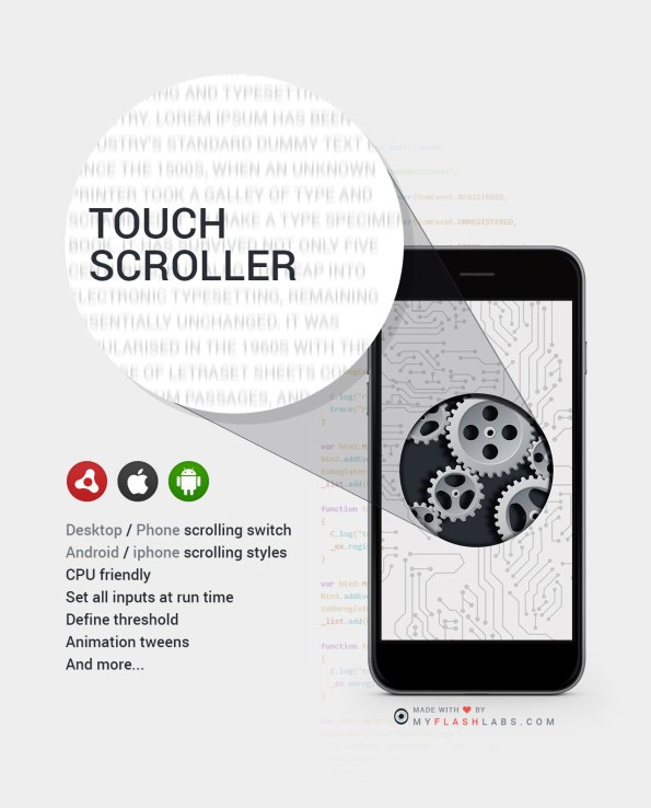 AIR AS3 Touch Scroll for desktop and mobile