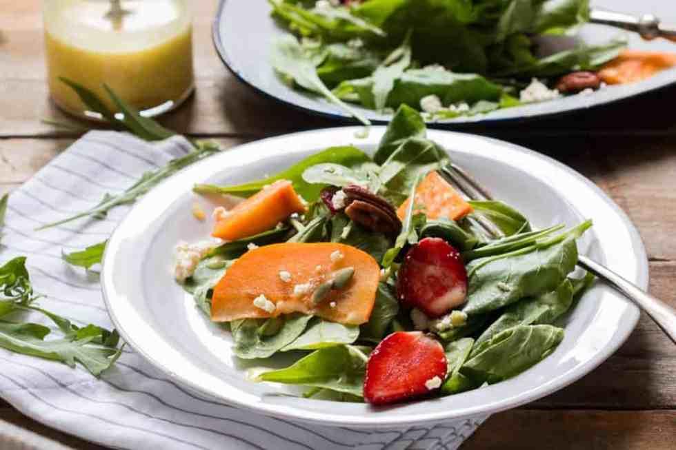 Greens, Persimmon Ricotta Salad with Orange Dressing