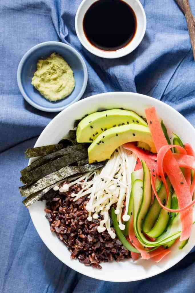 Vegetarian Sushi Bowl With Teriyaki Dressing