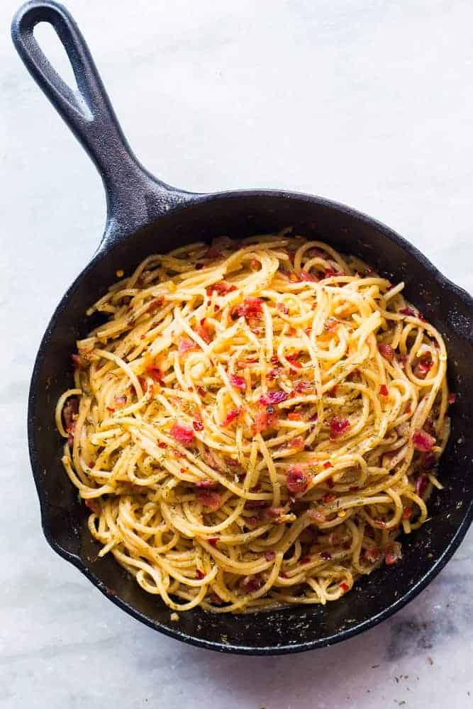 5 Ingredient Bacon Spaghetti Aglio Olio