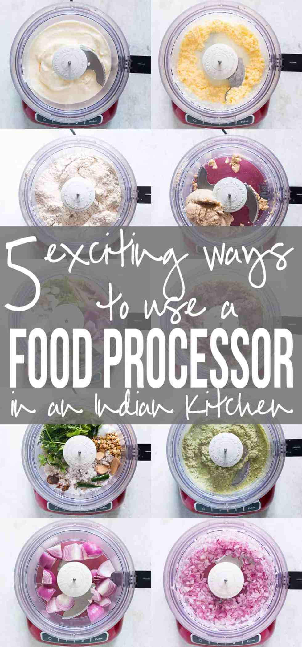 Looking to buy a food processor? Read my recommendations and find out 5 exciting ways to use a food processor in an Indian kitchen (mincing meat, churning butter, kneading atta dough, chopping, shredding etc)