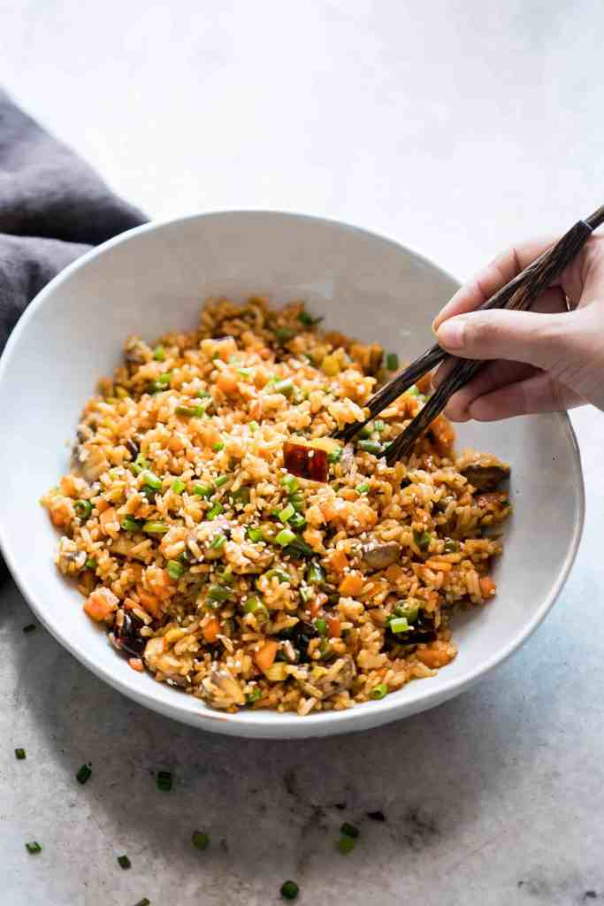 Schezwan Fried Rice from Leftover Rice
