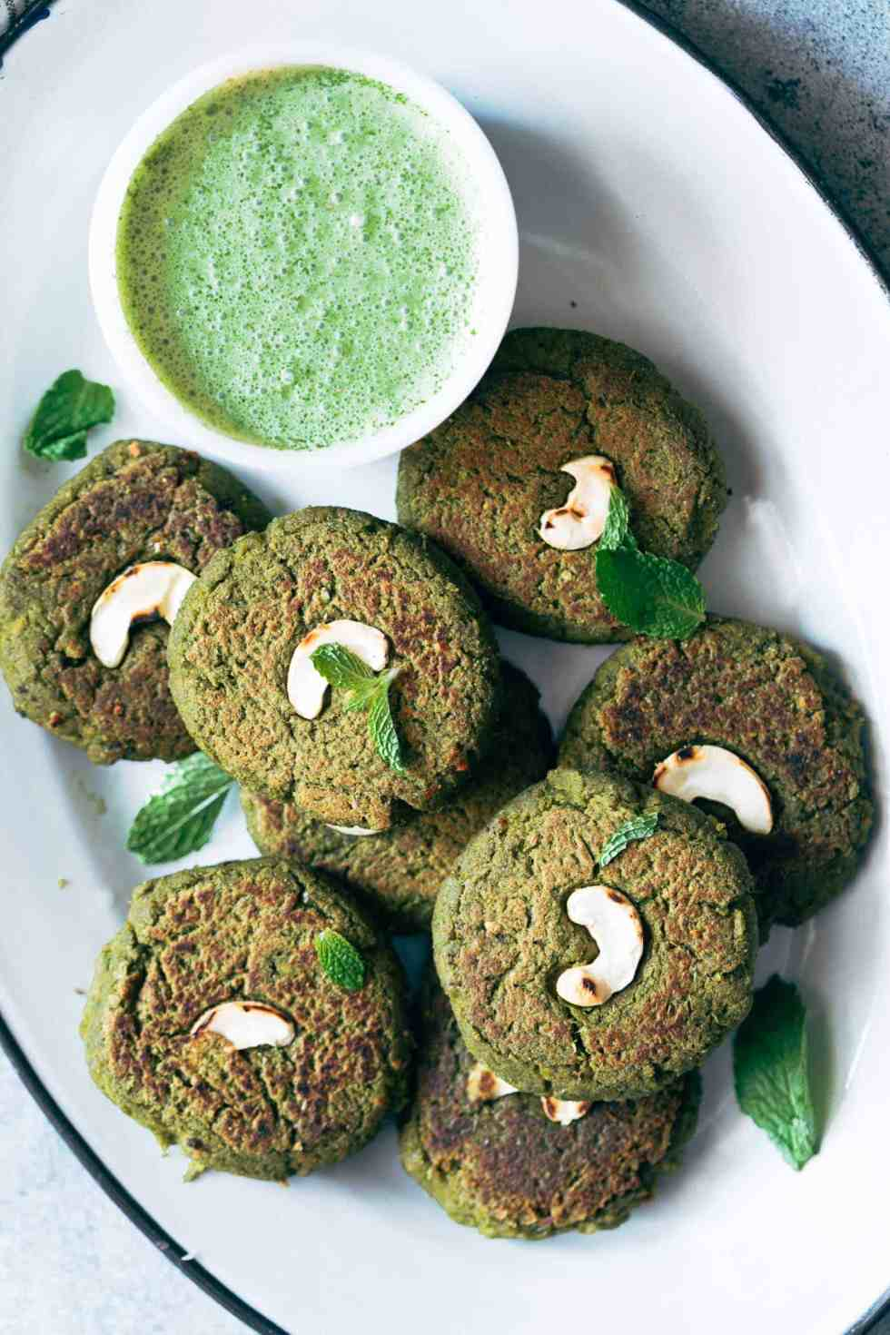 Easy to make soya hara bhara kebabs are a healthy twist to restaurant style hara bhara kebabs. These are perfect if you are looking for vegetarian kebabs to serve your guests!