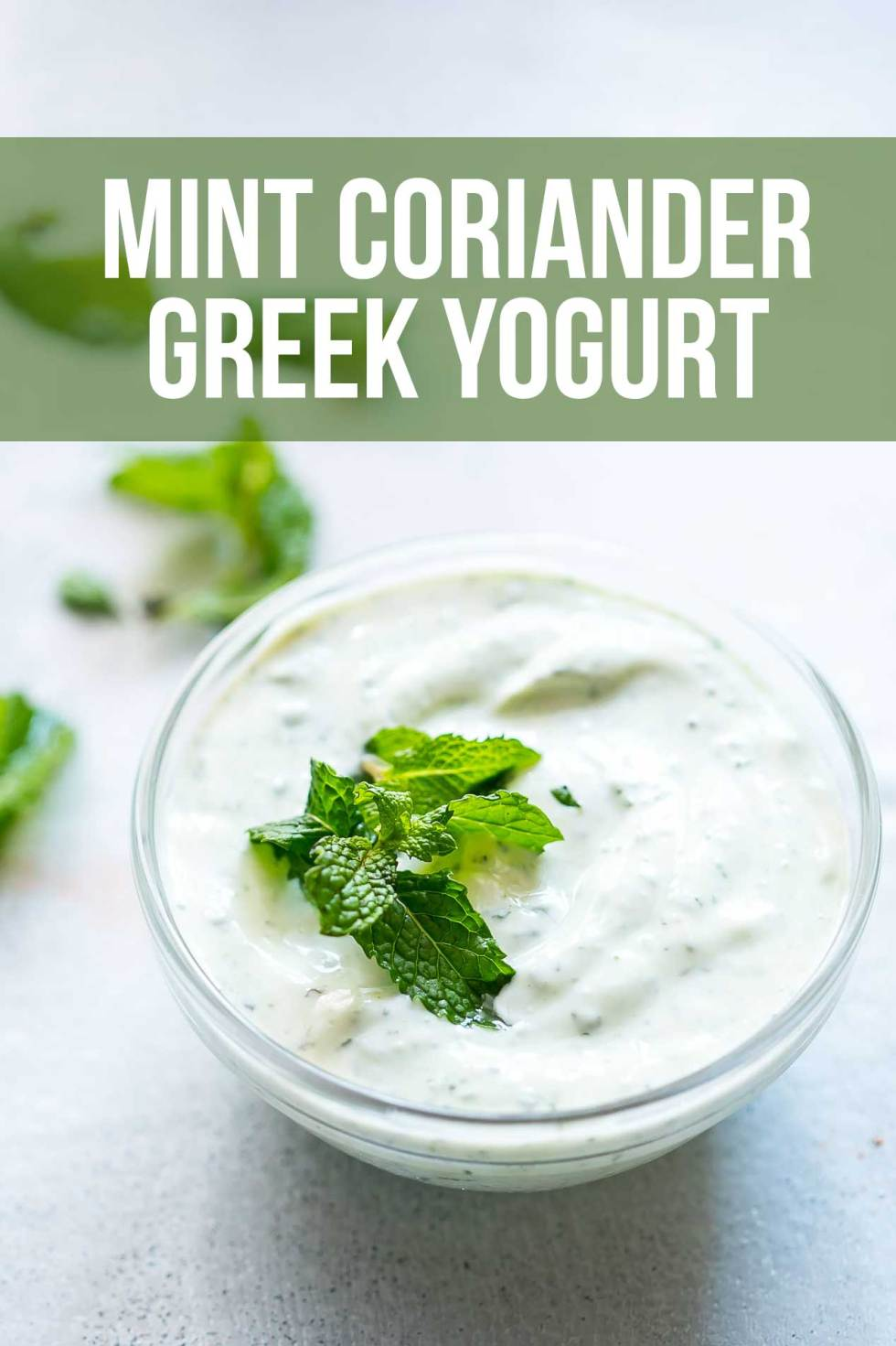 It's a myth that Greek yogurt should always be sweetly flavored. This mint coriander Greek Yogurt packs a ton of flavor and is a light take on mint coriander raita. It's delicious as a snack and can even be used as a dip for crackers, veggie sticks or had as is.