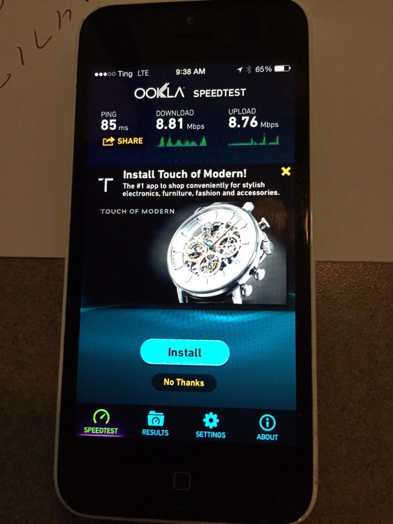 Ting GSM Speed Test