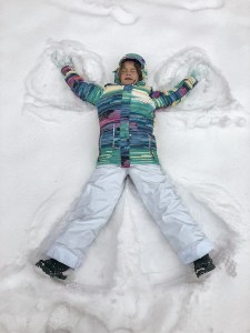 Info about snow conditions and skiing in Gudauri in December - snow angel in fresh powder