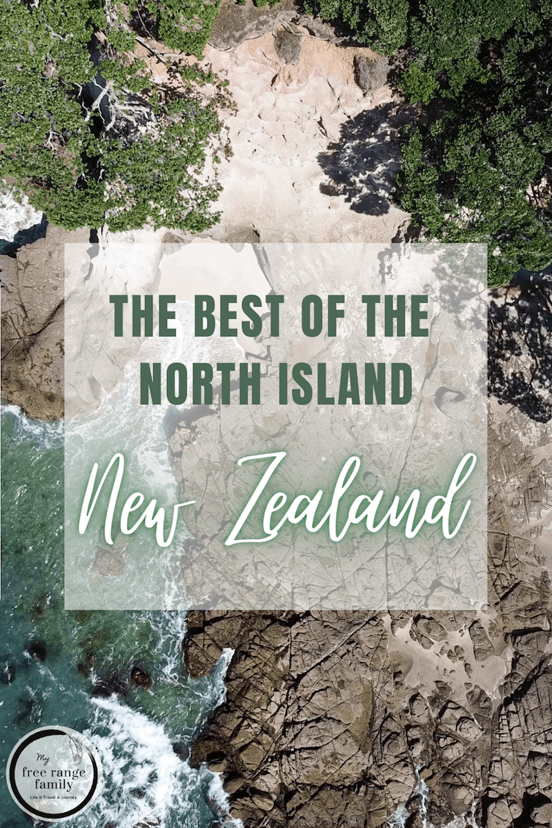 Pin for later - The Best Places to Visit in the North Island, New Zealand - Drone image of Whiritoa Bay
