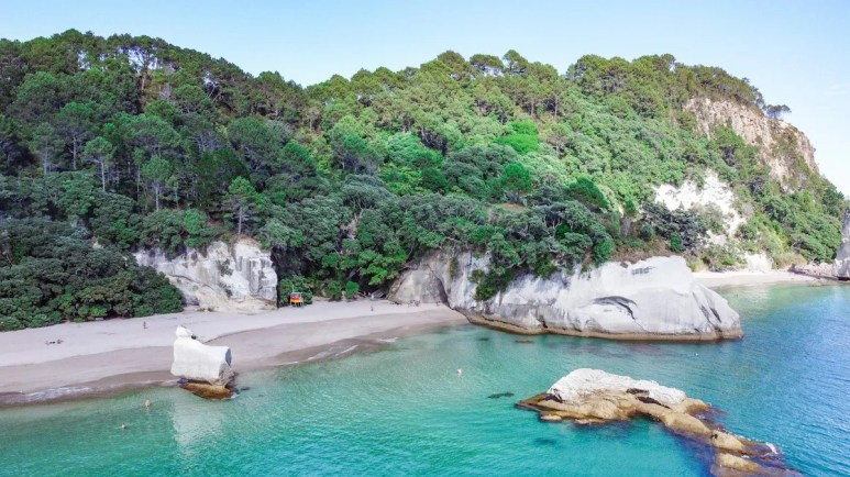View of Cathedral Cove and location of the film Narnia