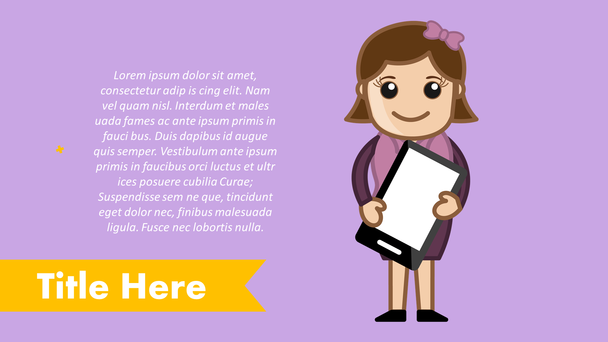 Girl With Mobile Cartoon Presentation Slide