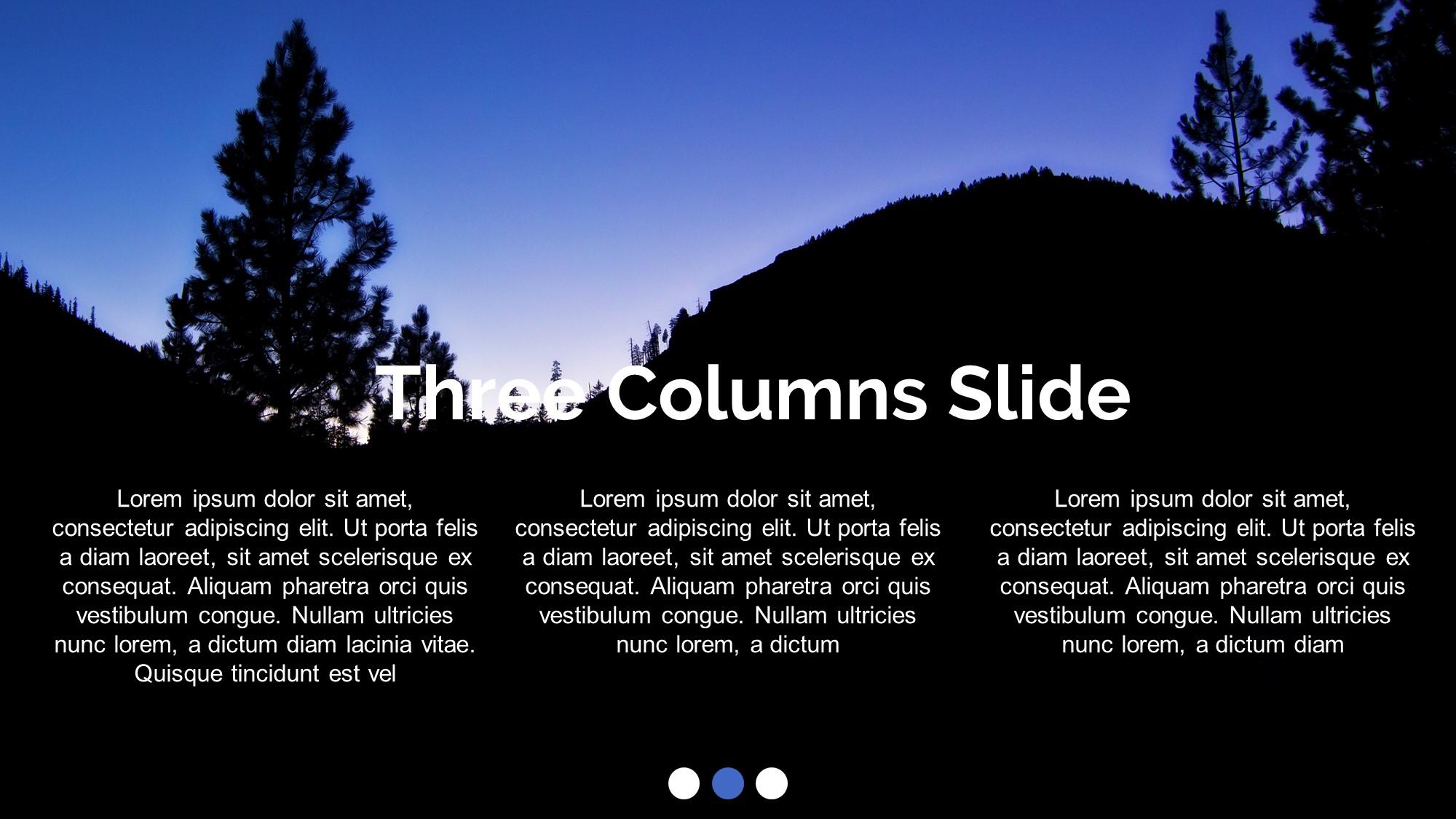 three column Silhoutte presentation slide