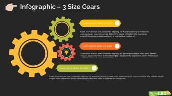 3 Size Gears Infographic Slide Dark
