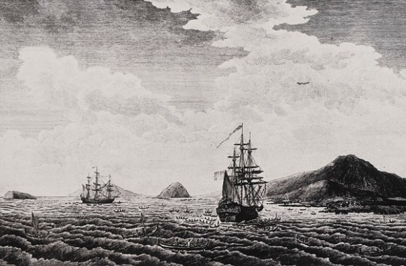 Etching of Laperouse Expedition vessels
