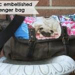 bag tutorial - fabric embellished messenger bag