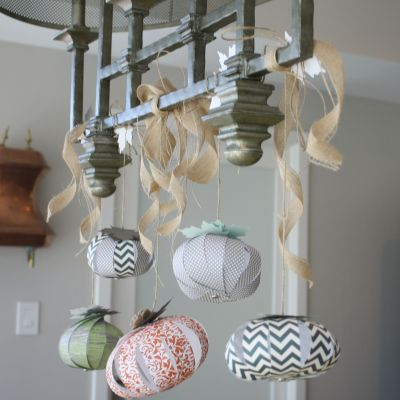 hanging paper pumpkins at My French Twist