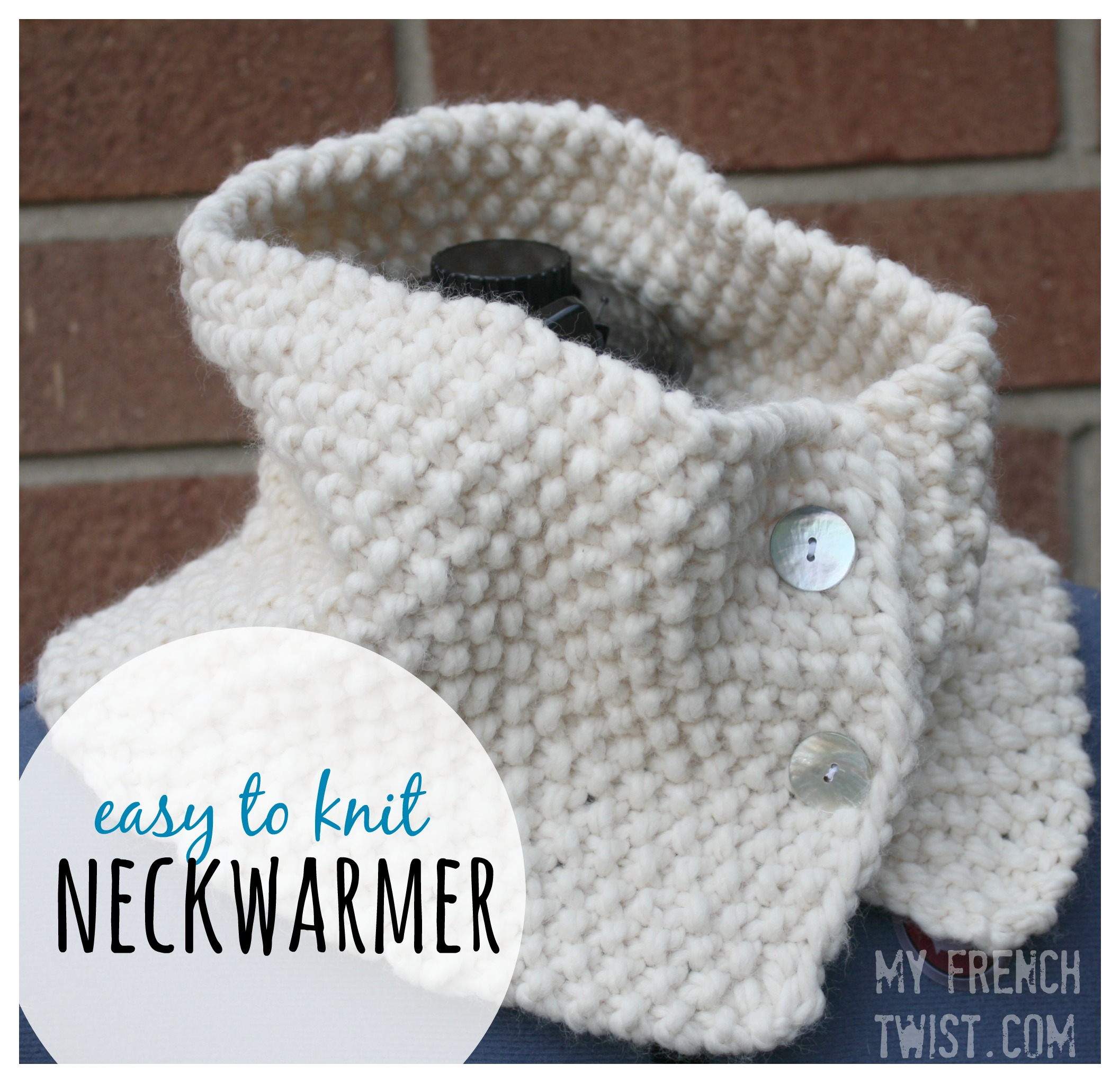 easy to knit neckwarmer with myfrenchtwist.com