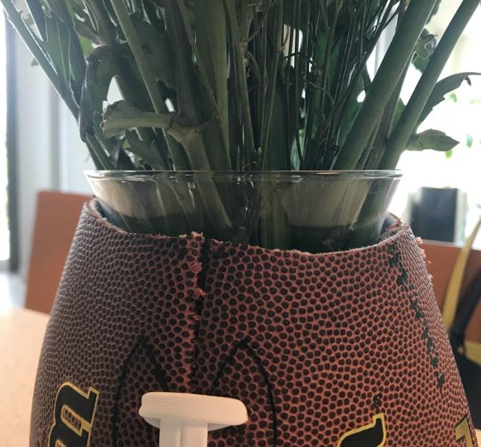 upcycled football vase