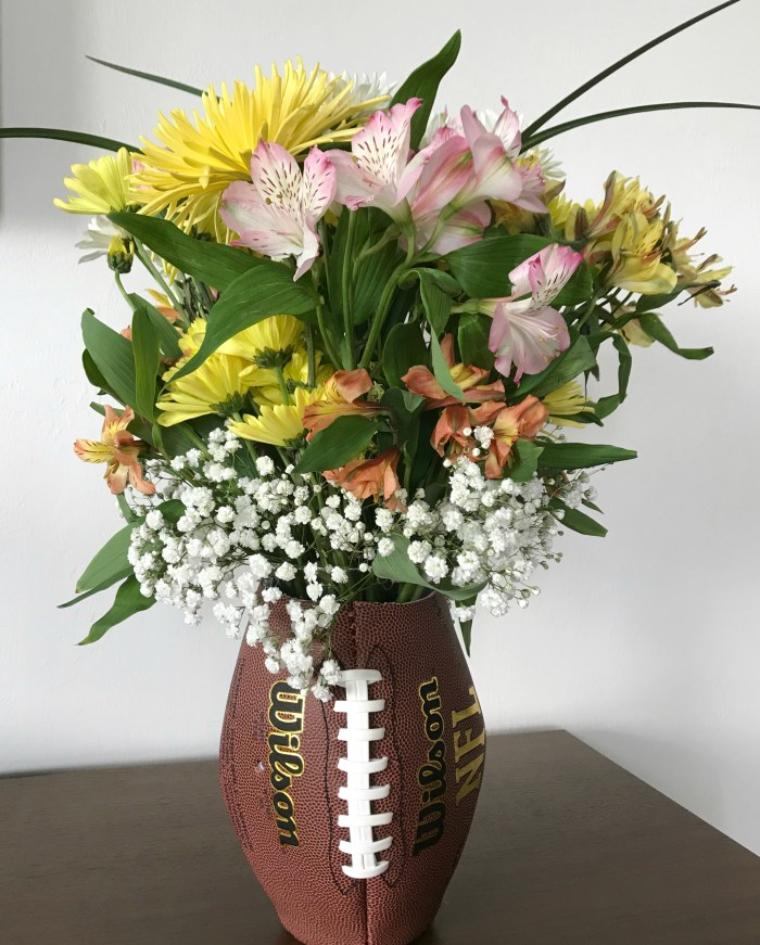 upcycled football vase