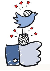 image of Facebook Like and Twitter Bird with bandages