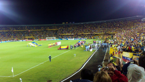 colombia football team at el campin stadium in Bogota