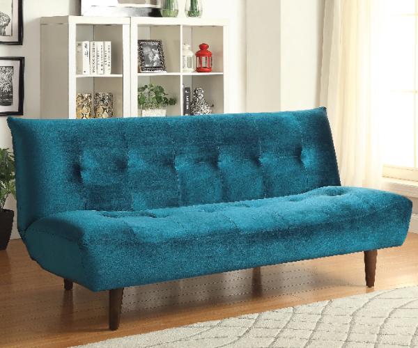 TEAL VELVET ADJUSTABLE SOFA BED FUTON WITH SOLID WOOD LEGS