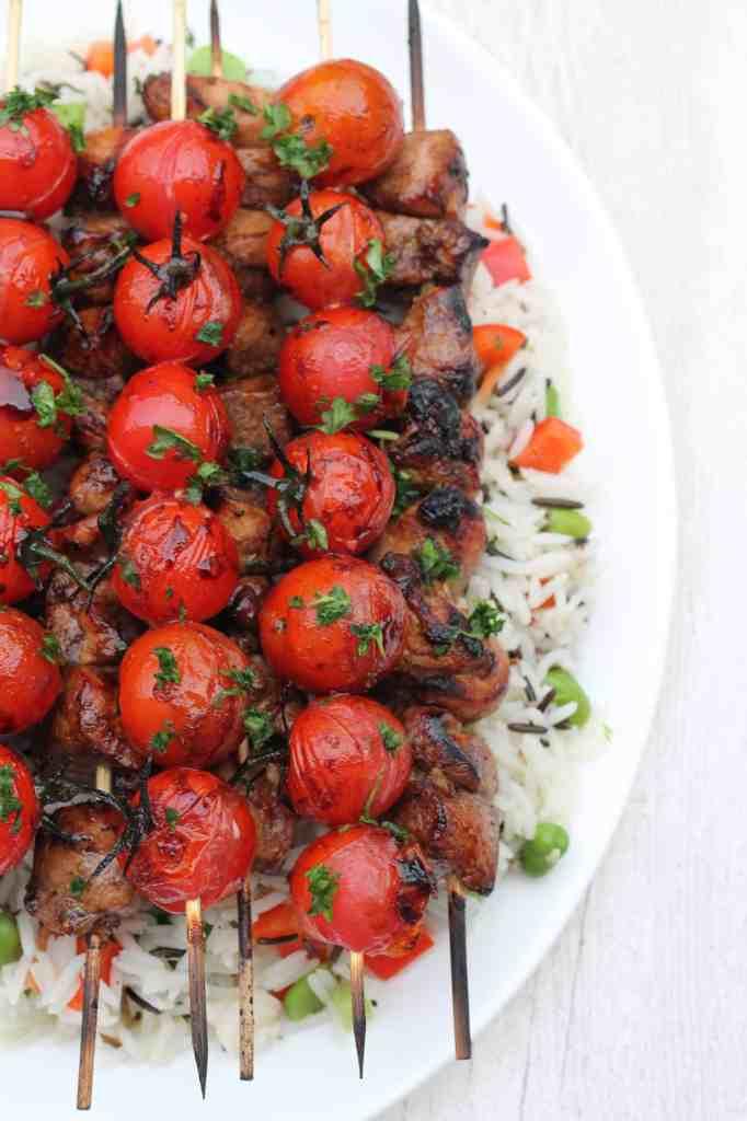 Balsamic Chicken Tomato Skewers