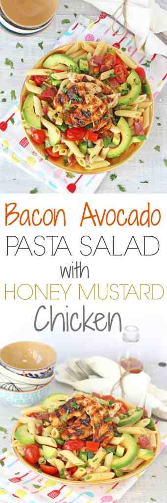 Bacon Avocado Pasta Salad with Honey Mustard Chicken | My Fussy Eater Blog