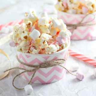 Candy Cane Popcorn with White Chocolate & Marshmallows
