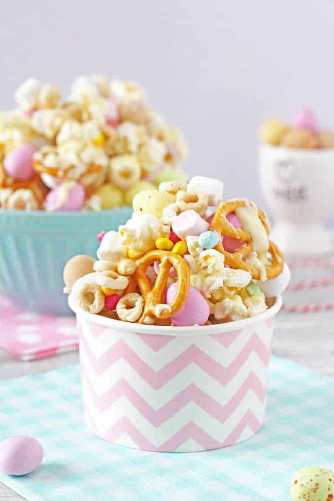 The kids will love to get involved in making these fun and delicious Easter Bunny Trail Mix. It can also be packaged up into paper cups or bags and makes a great Easter gift! My Fussy Eater blog