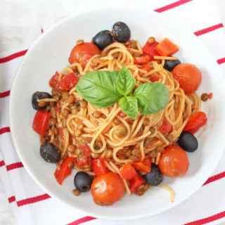 Tomato, Basil & Lentil One Pot Pasta