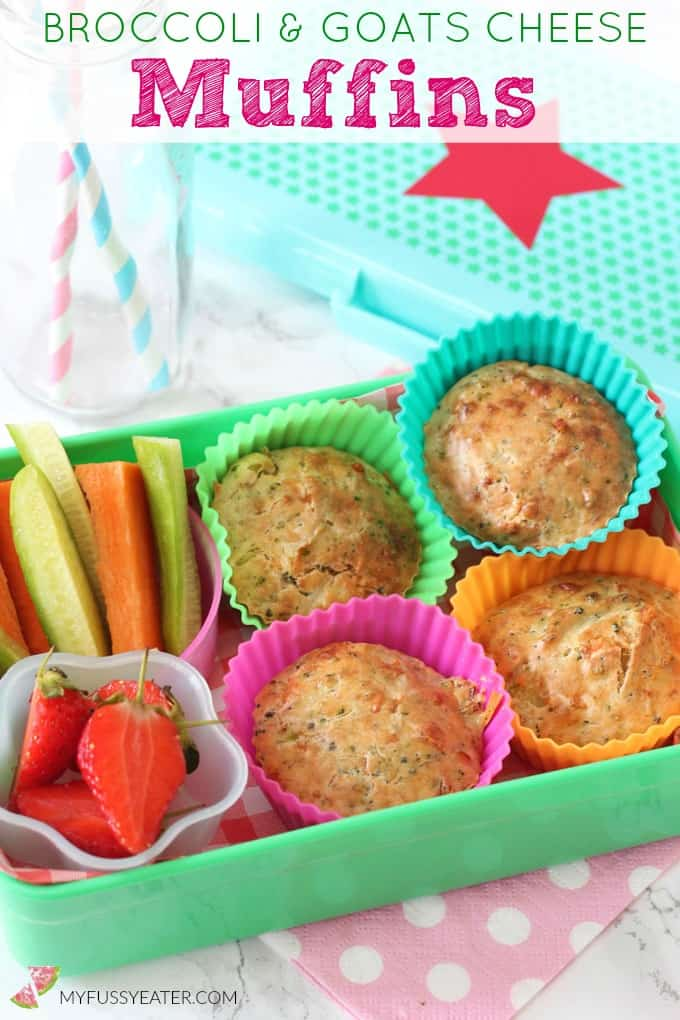 Delicious and mild Broccoli & Goats Cheese Muffins, perfect for kids' lunchboxes or to take out and about as a snack!