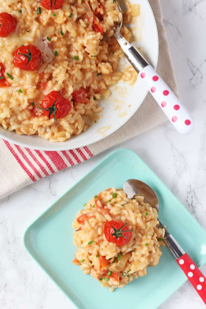 A delicious and kid-friendly Cheese & Tomato Risotto recipe, cooked in the oven to make it super easy!