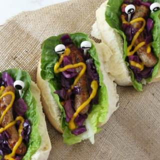Monster Hot Dogs with Warm Red Cabbage Slaw
