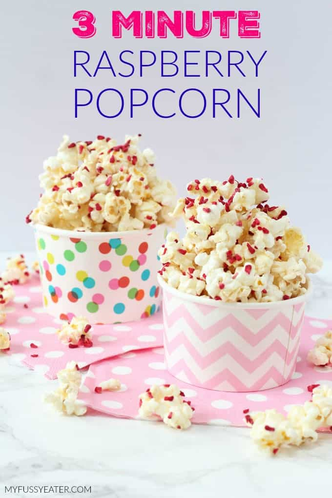 Movie nights are not the same with popcorn! Whip up this delicious sweet Raspberry & Vanilla Popcorn in the microwave in just 3 minutes. No oil needed!