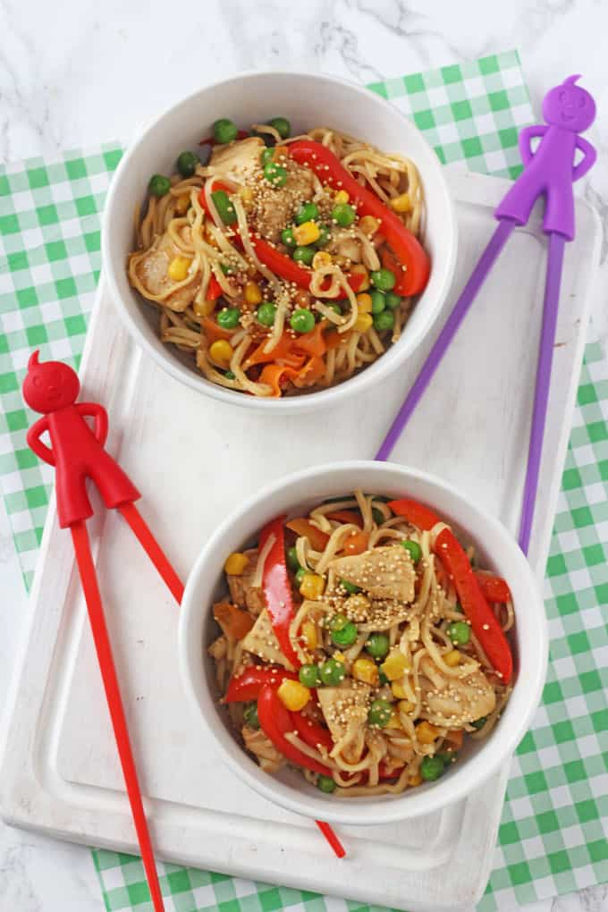 A delicious but super simple family meal of Sesame Honey Chicken & Vegetable Noodles. Ready in just 15 minutes!