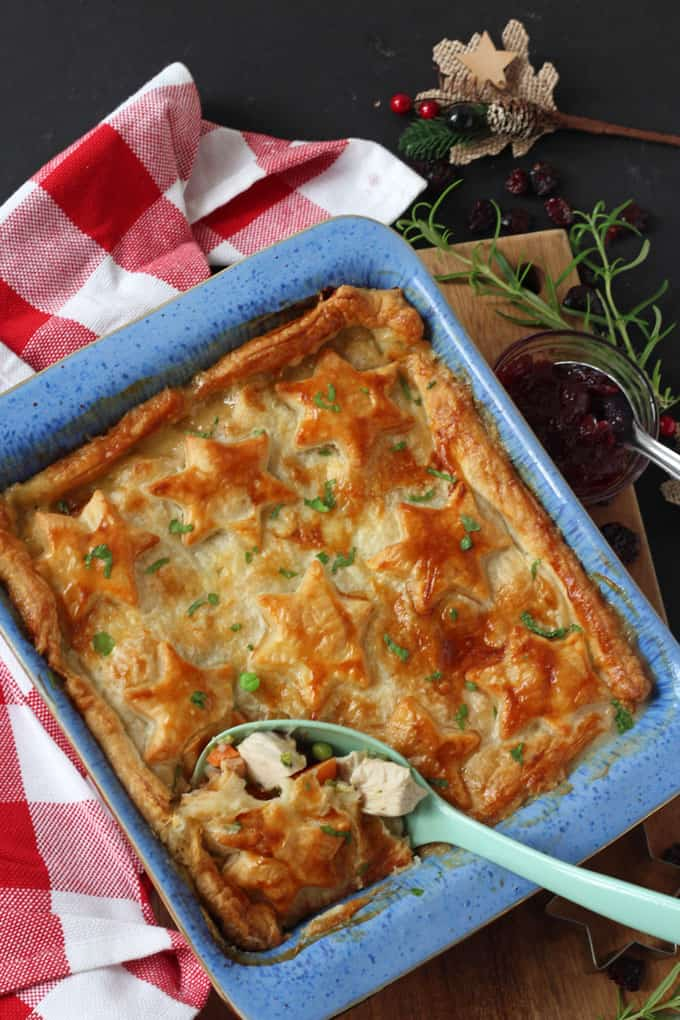 An easy recipe to use up your Christmas leftovers by turning them into a delicious Turkey, Cranberry & Brie Pie. It even uses up leftover vegetables too!