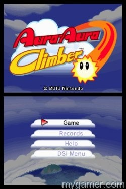 Simple title screen Aura-Aura Climber (3DS/DSiWare/eShop) Review Aura-Aura Climber (3DS/DSiWare/eShop) Review Aura Aura Title