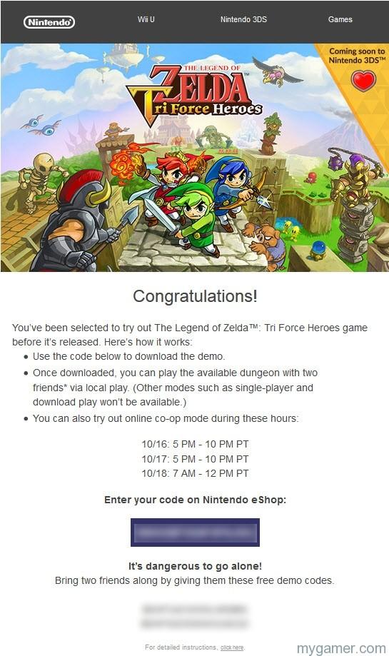 Zelda TriForce Heros Demo Code Pic Nintendo Sending Out Demo Codes for Zelda Triforce Heroes to Special People Nintendo Sending Out Demo Codes for Zelda Triforce Heroes to Special People Zelda TriForce Heros Demo Code Pic