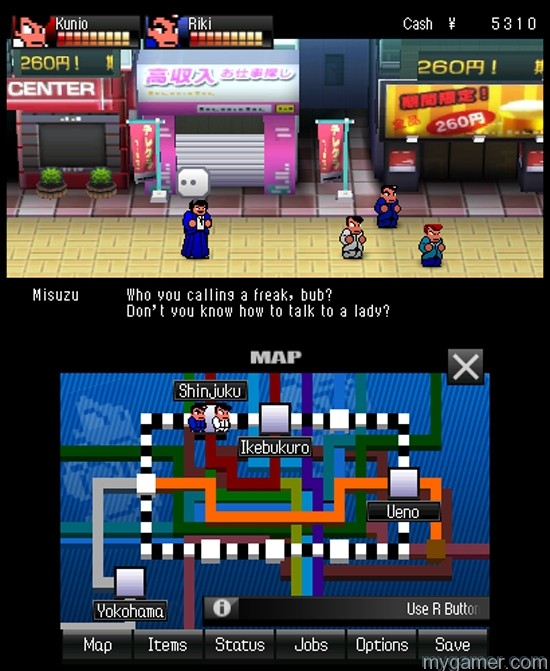 The script is actually very funny River City: Tokyo Rumble 3DS eShop River City: Tokyo Rumble 3DS eShop Review River City Tokyo Rumble Dialog