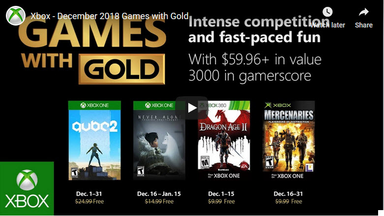 xbox live games with gold for december 2018 Xbox Live Games With Gold For December 2018 Xbox Games with Gold Dec 2018
