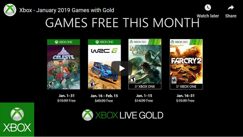 Xbox games with gold Jan 2019