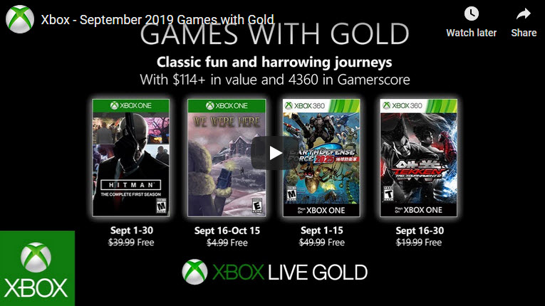 Xbox games with gold Sept 2019