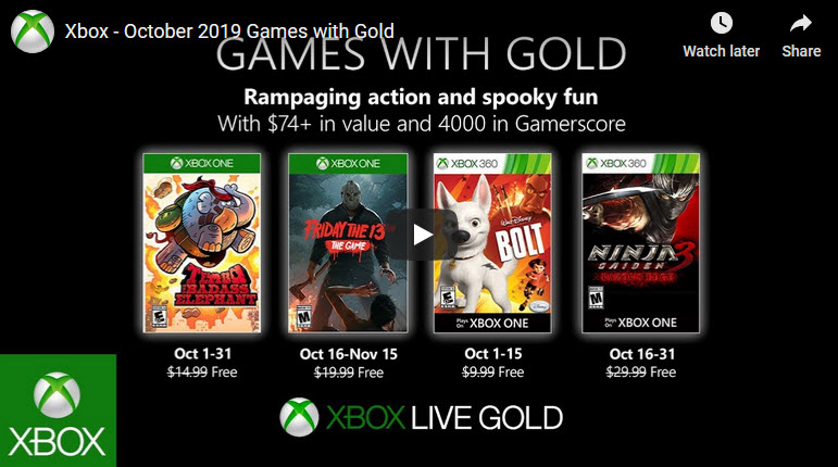 Xbox Games with Gold Oct 2019