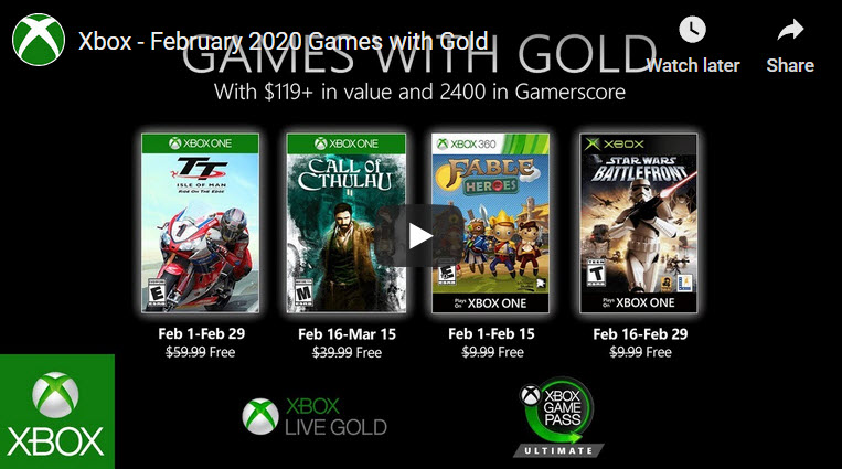 Xbox Games with Gold Feb 2020