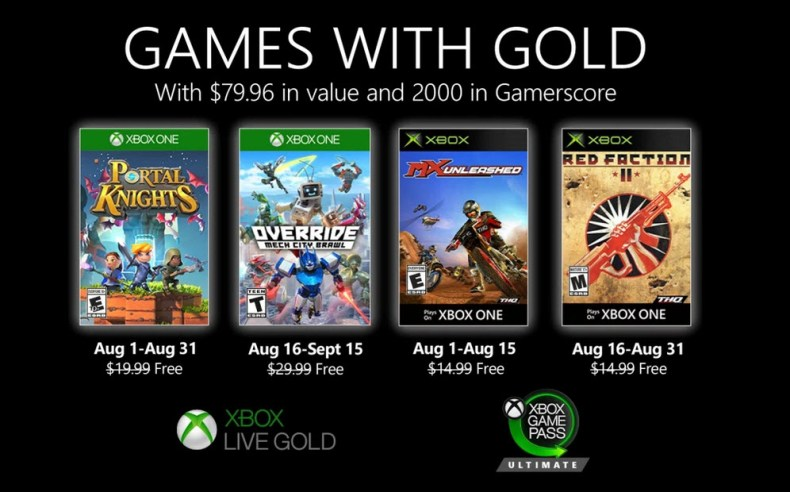 Xbox games with gold Aug 2020